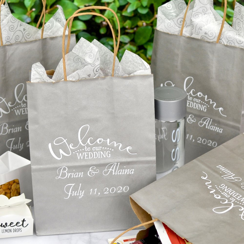 Silver 8 x 10 Kraft paper wedding welcome bag personalized with arched Wedding Welcome design and two lines of custom print with Florentine Cursive letter style in White Matte imprint color