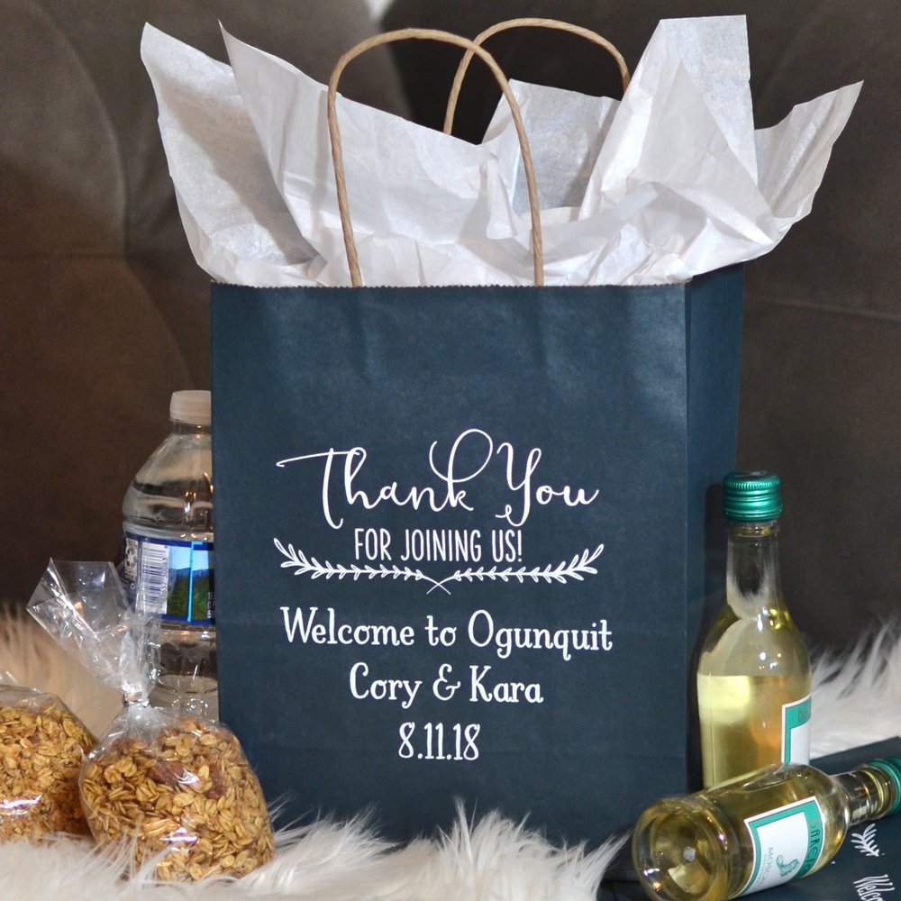 Navy Kraft paper gift bags personalized with WB018 Thank You Joining Us design, location, bride & groom's name, and wedding date in Sweetheart letter style in white matte imprint color