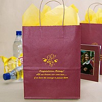 Personalized cabernet graduation gift bags printed with Sunburst Matte imprint, G4 graduation design, and three lines of text in Wave lettering style