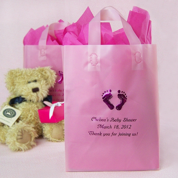 & 8 x 10 Custom Printed Frosted Baby Shower Gift Bags (Set of 25)