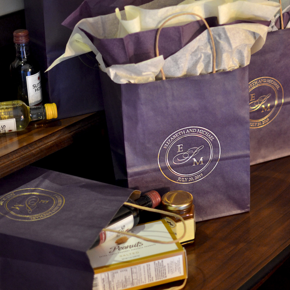 Purple bags printed with Metallic Gold imprint color