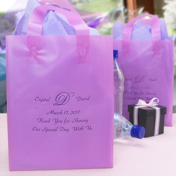 Custom printed frosted wedding guest gift bags