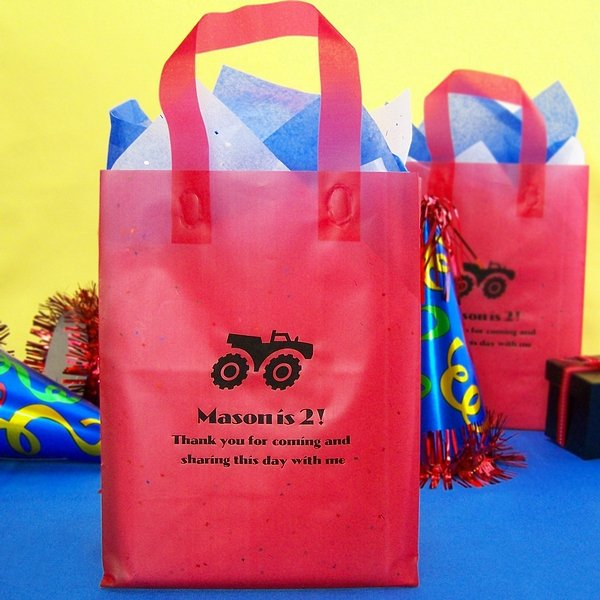 Personalized red frosted poly gift bags printed with Ebony Matte imprint, CRS7 alternate sports design, and three lines of text in Ultra Modern Bold lettering style