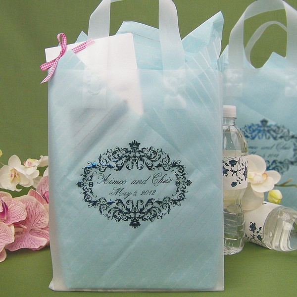 Clear custom printed frosted welcome gift bags