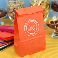Custom monogrammed tangerine party bags printed with white matte imprint color