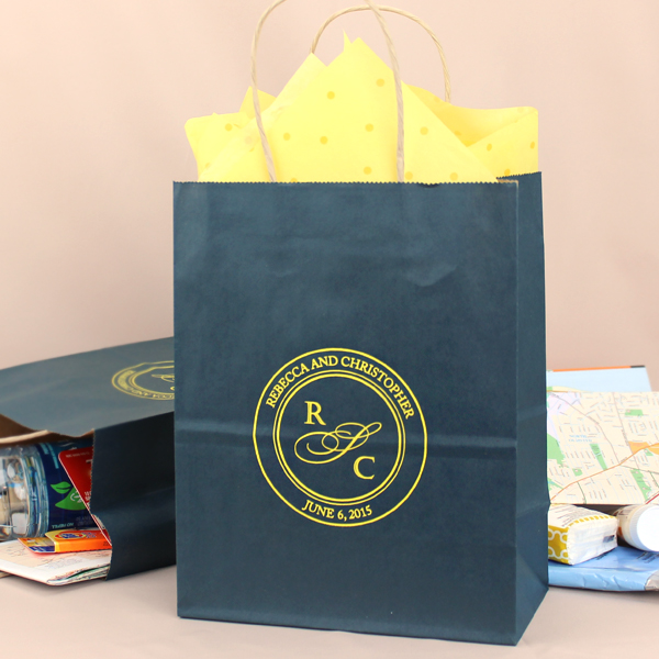 Navy Blue bags printed with Yellow Matte imprint color