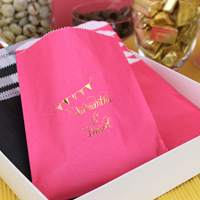 Raspberry cake and candy bags printed with Metallic Copper imprint color and pennant banner design