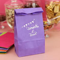 Violet party bags printed with Platinum Satin imprint color and pennant banner design