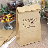 Natural party bags printed with Chocolate Brown imprint color and customer supplied artwork