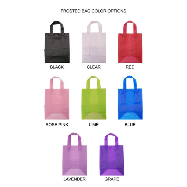 Cub size frosted gift bags are available in 10 semi-transparent colors to compliment your wedding or party colors