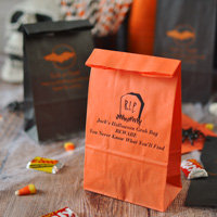 Orange Favor Bags with Black Imprint, Design HW13 - Headstone, and 3 Lines of text in Caslon Italic Lettering Style