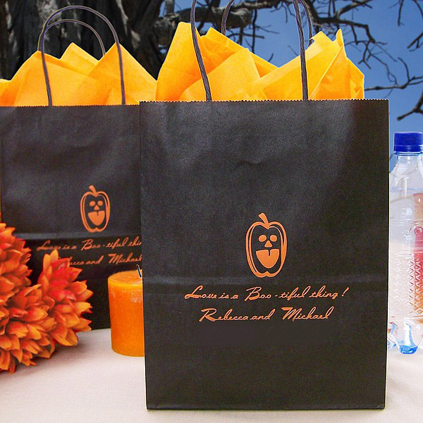 Personalized 8 x 5 x 10 kraft gift bag in black printed with Pumpkin Matte imprint, HW11 Halloween design, and three lines of print in Flair lettering style