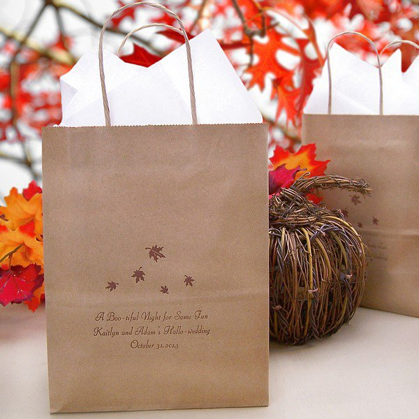 Personalized 8 x 5 x 10 gift bag in Natural Kraft printed with Chocolate Matte imprint, L8 Fall design, and three lines of print in Florentine Cursive lettering style