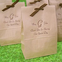Personalized natural paper lunch bag printed with Chocolate Matte imprint, FCB monogram, and three lines of print in Florentine Cursive lettering style