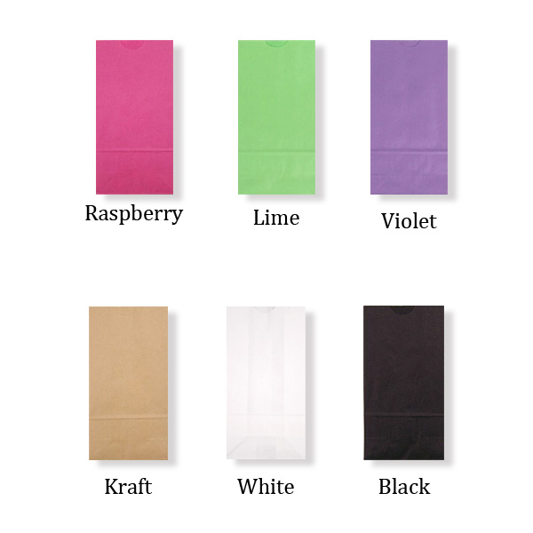 Choose from 8 vivid colors including black, lime, natural kraft, navy blue, raspberry, tangerine, violet, and white when ordering your personalized paper party and candy favor bags