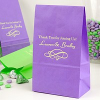 Personalized favor bags in assorted sizes, colors and shapes