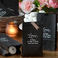 Personalized black paper party bag printed with white matte imprint color, WLV03 design, and Cheltenham letter style