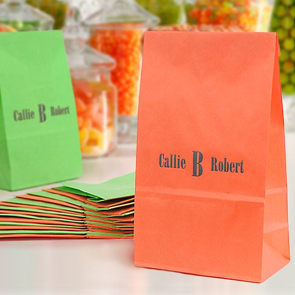 Tangerine and Lime paper party favor bags printed with monogram Bodoni - BCB and charcoal matte imprint color