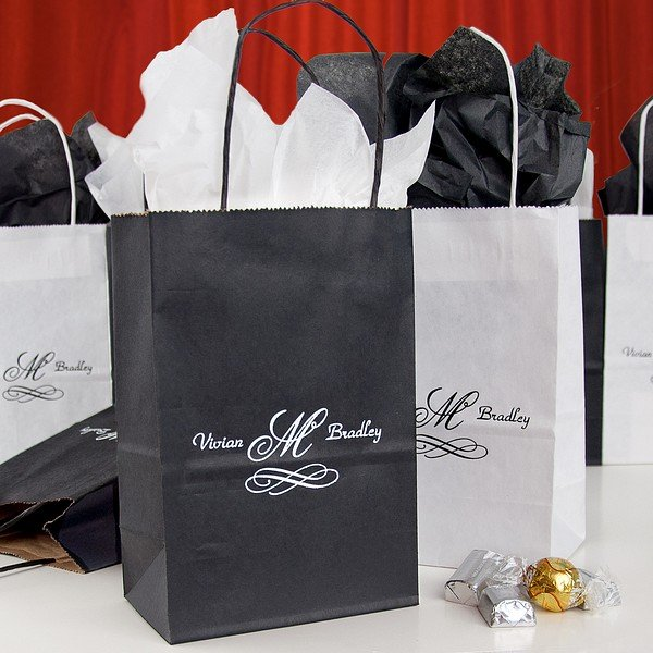 Personalized Wedding Favor Bags And Boxes : Custom Printed Petite Paper Wedding Gift Bags