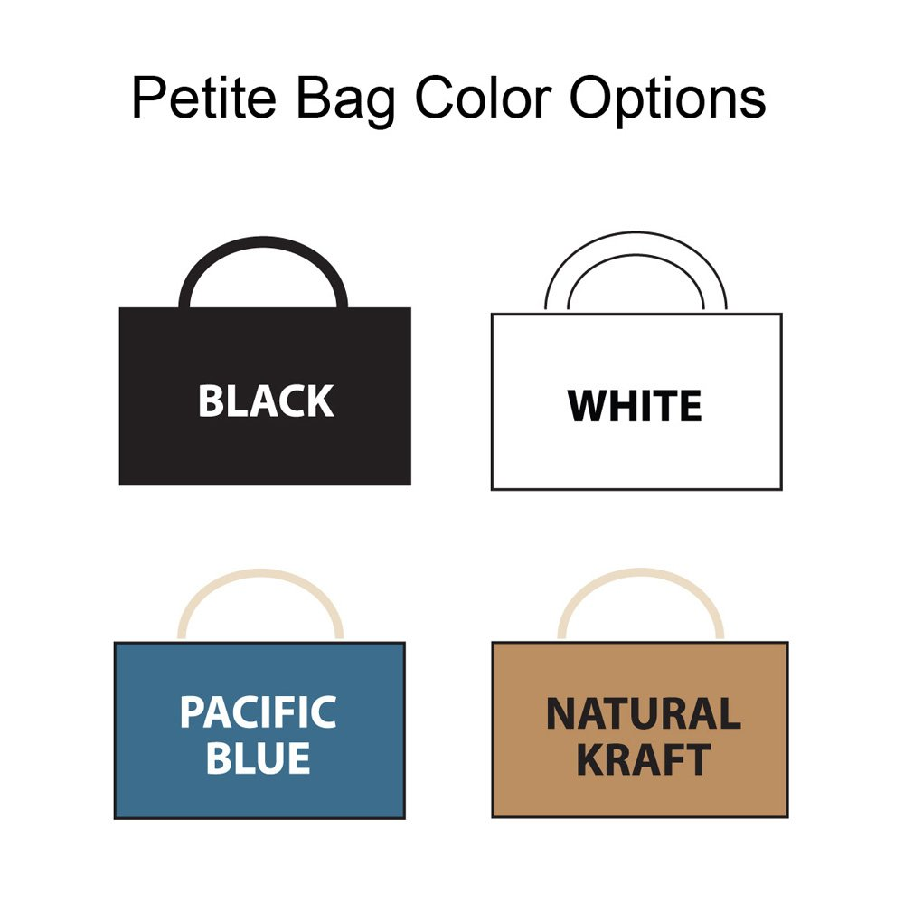 Petite size gift and favor bags are available in 8 unique colors including black, white, cherry sorbet, lemon yellow, misty blue, mustard yellow, periwinkle blue, and tropical orange