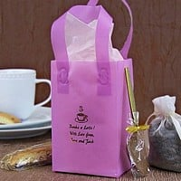 Lavender frosted mini gift bag personalized with Bronze Satin imprint color, H61 alternate design, and three lines of text in Hauser lettering style