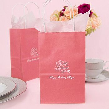 Personalized party gift bags in assorted sizes, styles, and colors