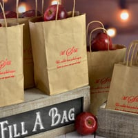 Personalized petite kraft goodie bags shown in natural kraft color with crimson matte imprint with the monogram VIP-ED1 and lettering style florentine cursive