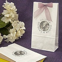 Personalized white circle photo paper party bags
