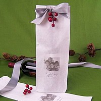 Personalized white photo wine bag printed with holiday photo and two lines of text