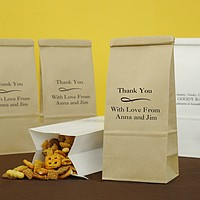 Personalized Tin Tie Goodie Bags printed with Ebony Matte Imprint color, Caslon Lettering Style, and special instructions to print line 1 larger with Scroll Design s21 printed beneath line 1