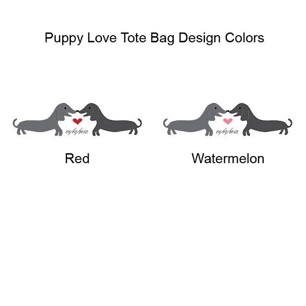 Heart color options on Puppy Love personalized canvas tote gift bags