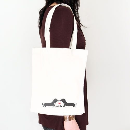 Puppy Love tote bag on shoulder