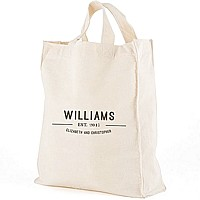 Bistro Bliss design canvas tote bag personalized with bride and groom's married name, first names, and wedding date