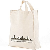 City skyline design canvas tote bag personalized with bride and groom's first name and wedding date