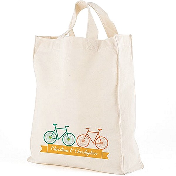 Bicycles design canvas tote bag personalized with bride and groom's first name