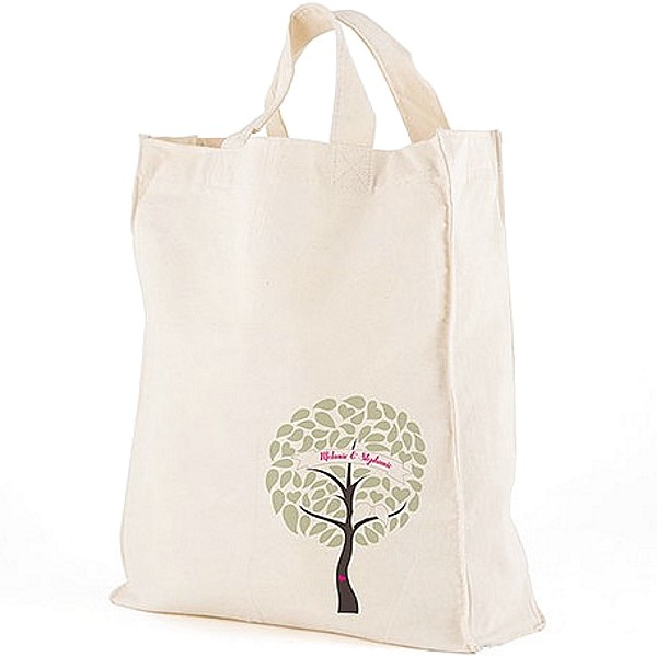 12 x 14 Love Birds Tree personalized canvas tote gift bag