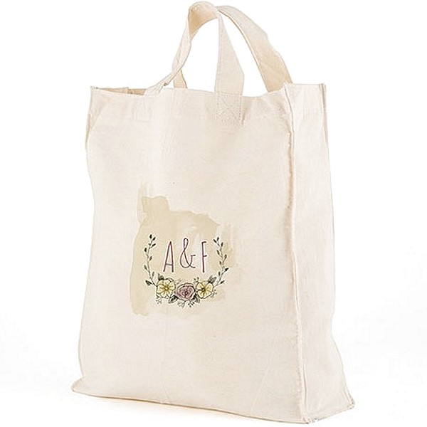 Natural Charm vintage floral design canvas tote bag personalized with bride and groom's initials