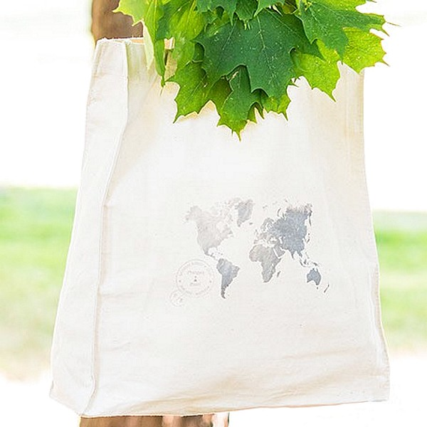 Closeup of 12 x 14 World Map personalized canvas tote gift bags