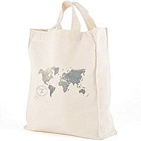 12 x 14  World Map personalized canvas tote gift bags