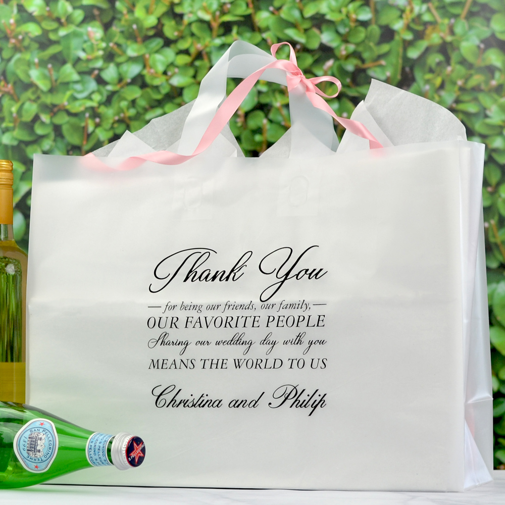 Large clear frosted gift bag personalized with Ebony Matte imprint color, WB020 Thank You Favorite People design, and one line of text in Formal Script lettering style