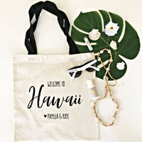 Welcome your guests to your destination wedding with custom printed canvas hotel room gift bags. Fill your bags with champagne, sunglasses, sunscreen, your wedding itinerary, brochures for favorite hot spots, water bottles, and local treats for your guests to enjoy through the weekend. These canvas personalized tote bags are customized with your state (or city) and the bride and groom's names.