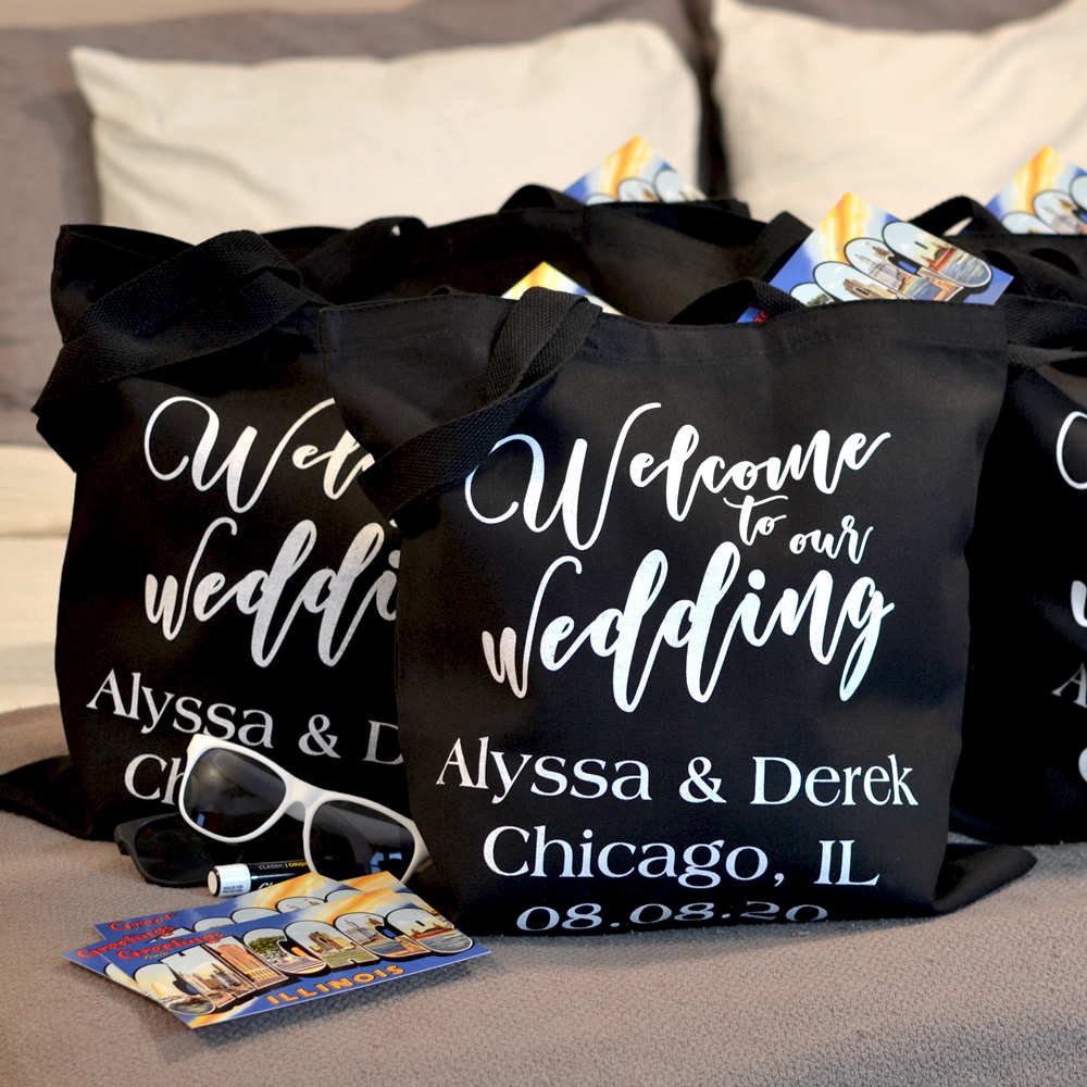 Welcome To Wedding Hotel Room Black Canvas Tote Bags