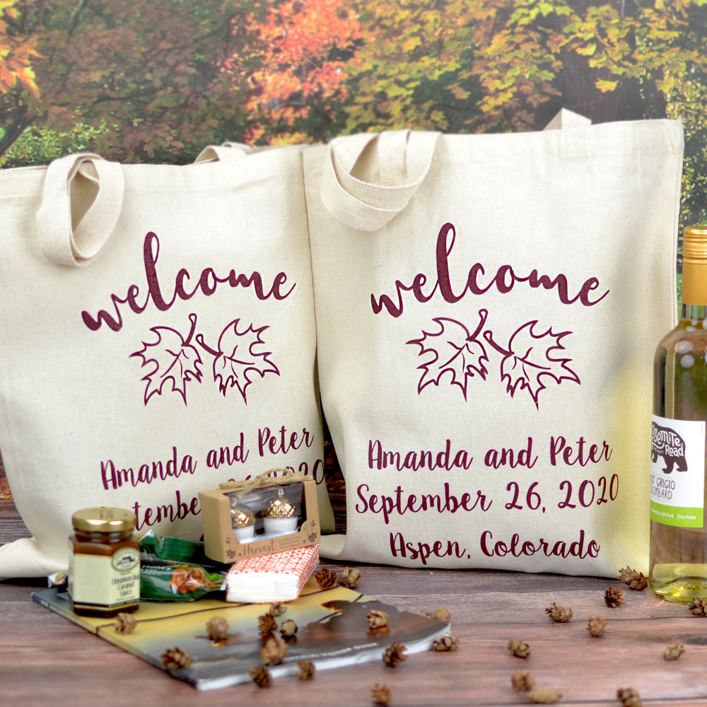 Fill custom printed wedding welcome bags with local favorites to welcome guests to your wedding weekend