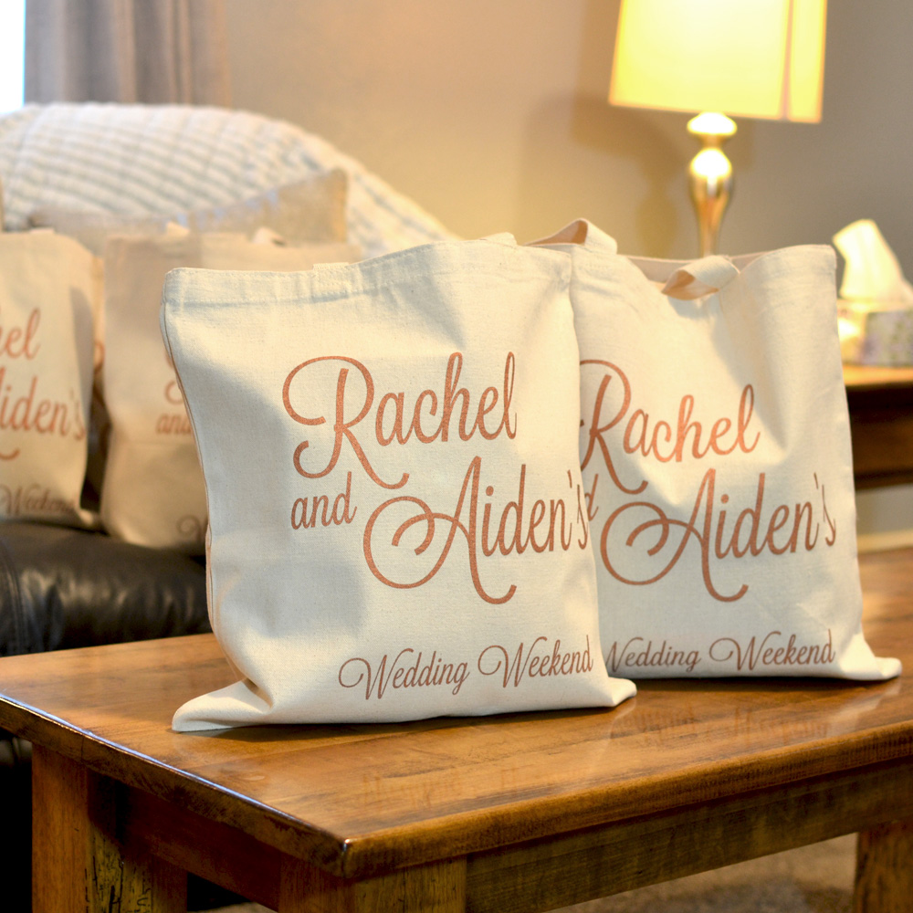 Welcome your guests to your destination wedding with custom printed canvas hotel room gift bags personalized with a design and up to three lines of text in your choice of bag and imprint colors