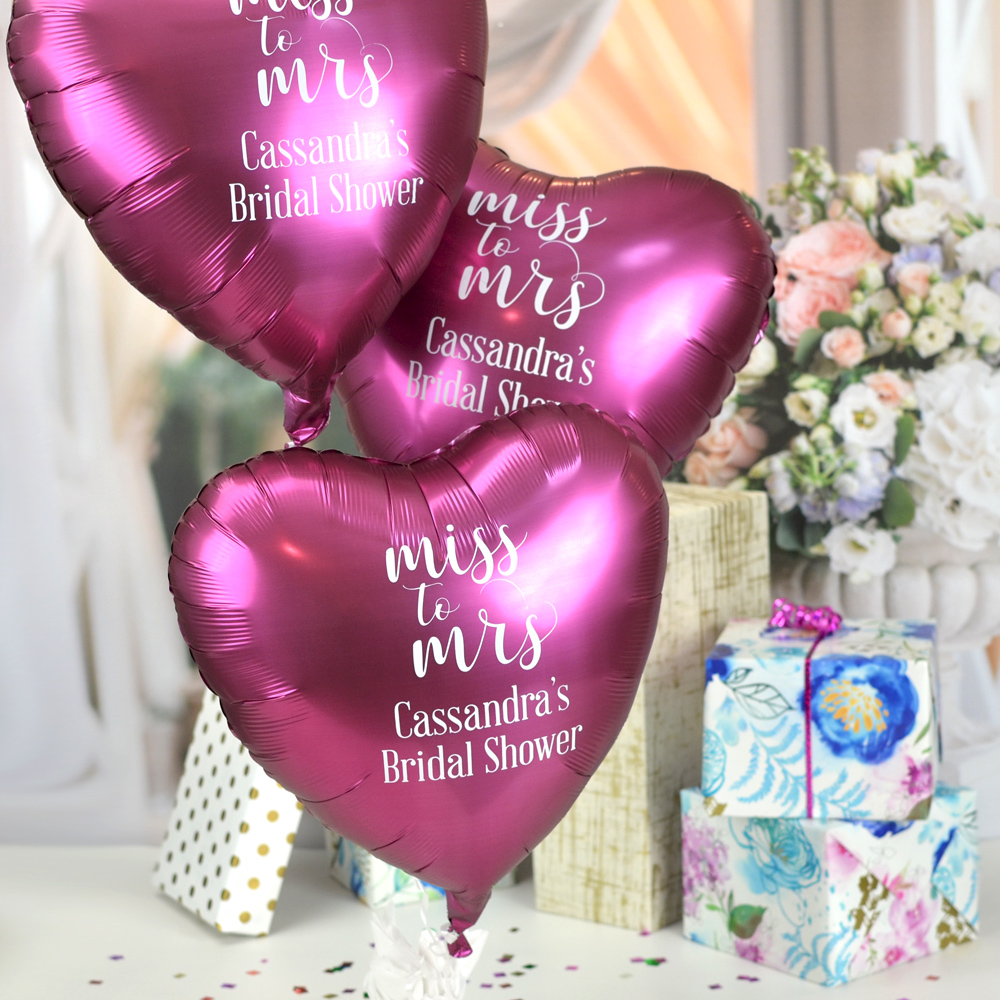 Pomegranate Custom Printed Heart Mylar Balloons personalized with W0034 Miss to Mrs design and two lines of text in Handsome lettering style, all in White imprint color