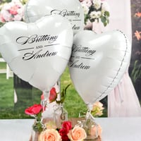 Metallic White Custom Printed Heart Mylar Balloons personalized with M-52 - Names Monogram with Black imprint color