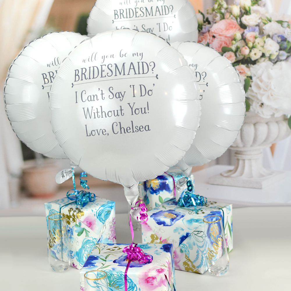 White bridesmaid proposal round foil balloon personalized with W0036 - Be My Bridesmaid design in Dark Grey imprint with lettering style Sweetheart