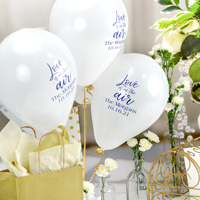 White 9 inch latex wedding balloon personalized in Navy imprint with W0035 - Love is in the Air design and two lines of text in Strong lettering style