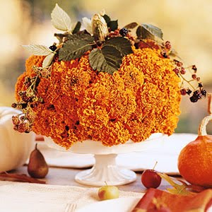 Pumpkin centerpiece made of mums courtesy of bhg.com