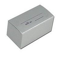 Silver 2 x 1 mini favor box personalized with two lines of print